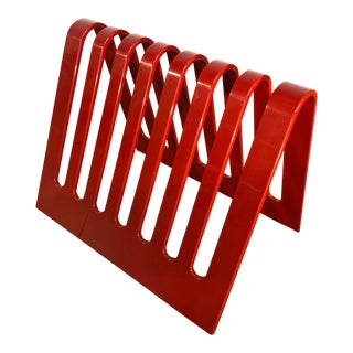 Postmodern Spectrum Cleveland Red Lucite Magazine Rack or Record Holder For Sale
