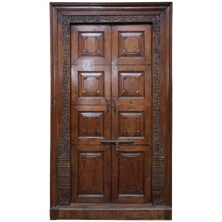 Mid 19th Century Vintage Solid Teak Wood Superbly Crafted Entry Door For Sale