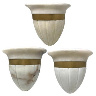Hand-Carved Neoclassical Flush Mount Alabaster Sconces by Corbett – Set of Three For Sale