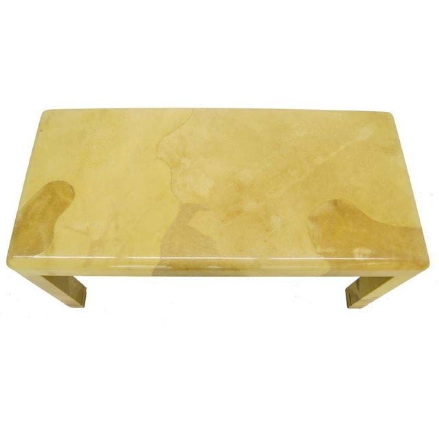 1960s Fine Mid-Century Modern Goat Skin Parchment Coffee Table in Brass For Sale - Image 5 of 7
