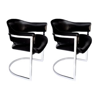 A Stylish and Comfortable Pair of Italian Chrome and Black Leather Chairs Designed by Vittorio Introini for Mario Sabot 1970's