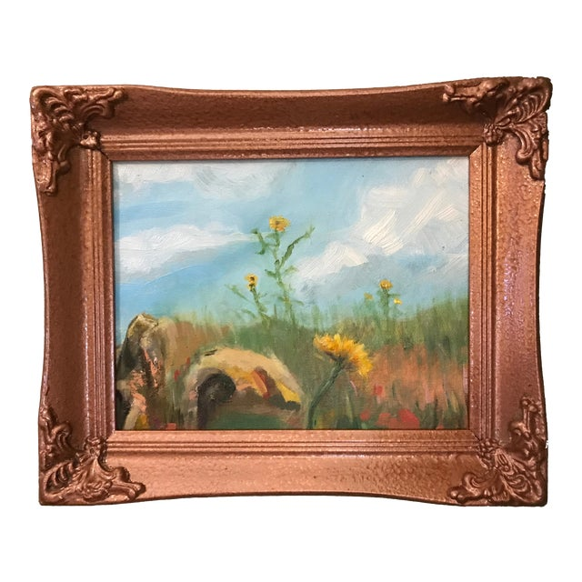 Sunflowers in Field Original Framed Oil Painting For Sale