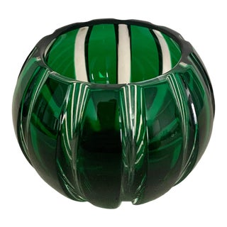 Green Faberge Parallel Crystal Votive For Sale