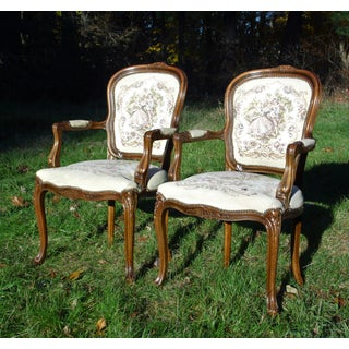 Pair Chateau d'Ax French Provincial Tapestry Fauteuil Bergere Arm Chairs Italy Preview