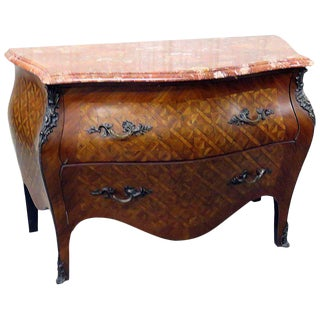 Louis XV Style Marble-Top Parquetry Commode