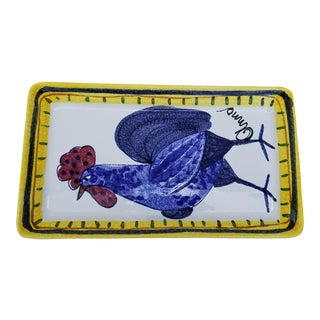 Fortini Italian Hand Painted Rooster Decorative Plate For Sale