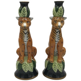 1980s Leopard Sculpture Candlestick Holders, Pair For Sale