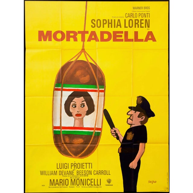 """Original French poster for the 1971 comedy """"Mortadella"""" aka """"Lady Liberty"""", directed by Mario Monicelli and starring..."""