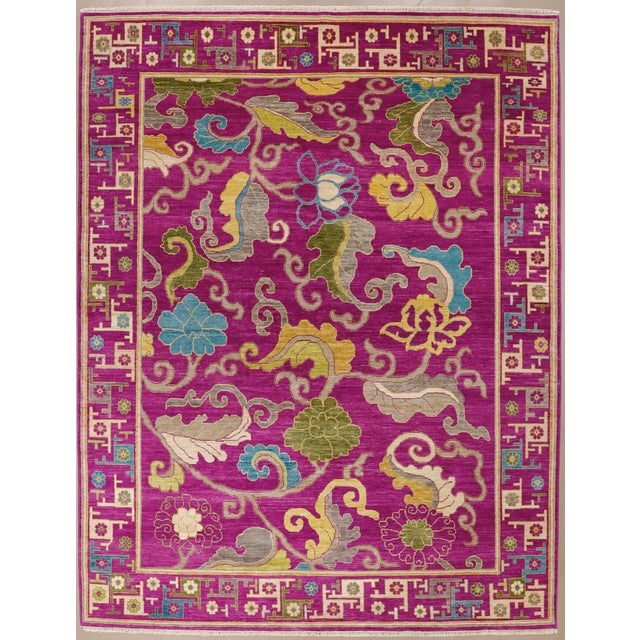 "Exotic Fuschia Chinese Design Rug, 8' X 10'3"" For Sale - Image 12 of 12"