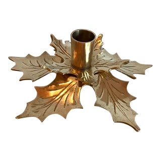 Vintage Brass Poinsettia Candle Holder For Sale