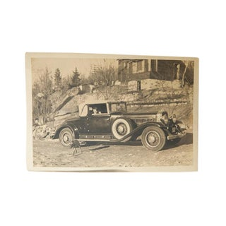 Antique Woman in a Car Photograph