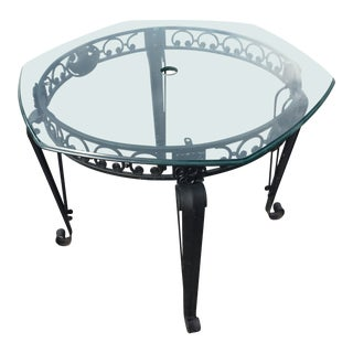 1970s Traditional Metal and Glass Patio Table For Sale