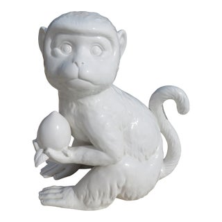 Palm Beach Style Fitz and Floyd Blanc De Chine Monkey Holding Fruit For Sale