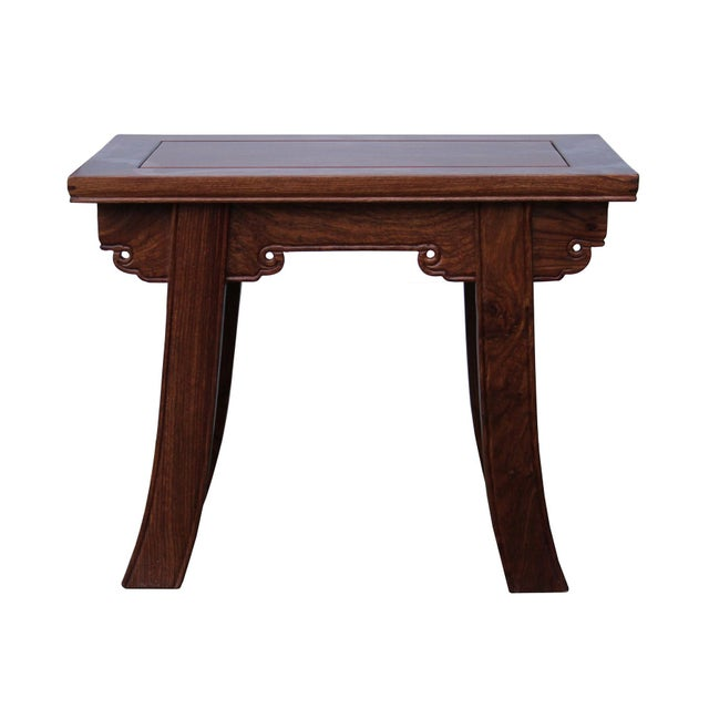 Quality Handmade Ming Style Huali Rosewood Rectangular Stool For Sale In San Francisco - Image 6 of 6