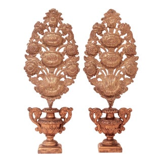 Continental Garniture Carved and Gilded Vases With Brass Repousse Sunflower Bouquets - a Pair For Sale