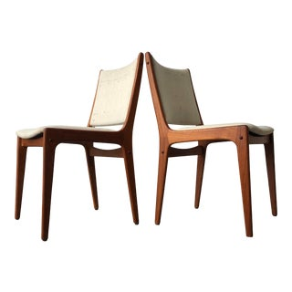 Vintage Mid Century Danish Modern Dining Chairs (A Pair) For Sale
