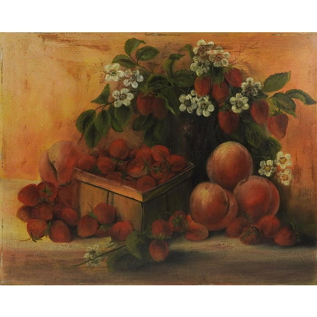 Americana Strawberries & Peaches Still Life Painting For Sale - Image 3 of 3