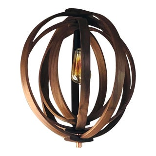 Handcrafted Steam Molded Walnut Chandelier For Sale