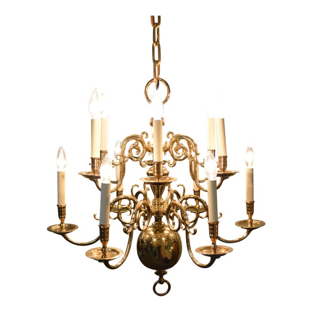 Virginia metalcrafters 12 arm brass colonial williamsburg chandelier virginia metalcrafters 12 arm brass colonial williamsburg chandelier aloadofball Image collections
