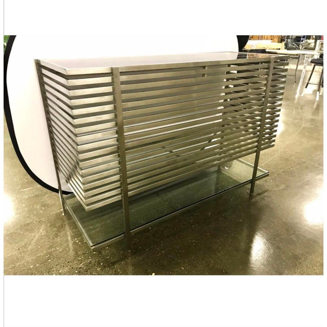 Mid-Century Modern Style Laser Cut Steel, Glass and Chrome Dry Bar For Sale In New York - Image 6 of 13