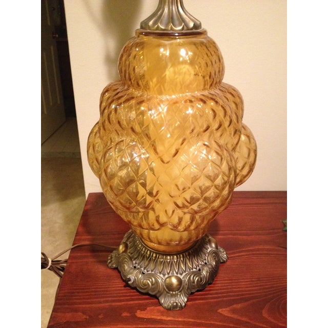 Tall Hollywood Regency Ornate Amber Glass Lamp - Image 3 of 6