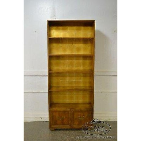 Henredon Campaign Style Open Bookcase Cabinet For Sale - Image 11 of 13