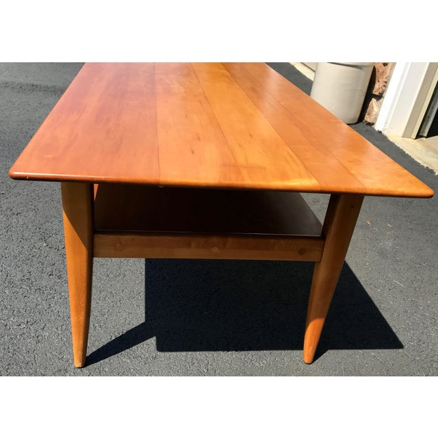 Tan Mid-Century Two Level Maple Coffee Table For Sale - Image 8 of 8