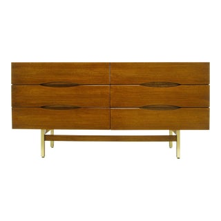 American of Martinsville Mahogany Dresser with Recessed Elliptical Pulls For Sale