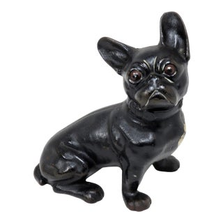 1930s Vintage Cast Iron French Bulldog Doorstop For Sale