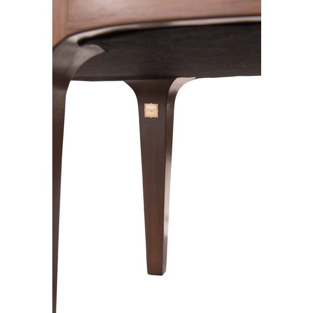 KLASP Home Walnut Bench With Laser Cut Cowhide Upholstered Seat For Sale - Image 4 of 6