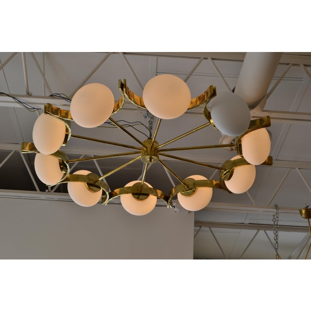 2010s Italian Modern Round Brass and Ten Opaline Glass Globe Chandelier For Sale - Image 5 of 9