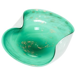Alfredo Barbini Murano Venetian Hand Blown Art Glass Green Ashtray For Sale