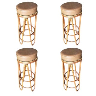 Set of Four Restored Hair Pin Leg Rattan Bar Stool For Sale