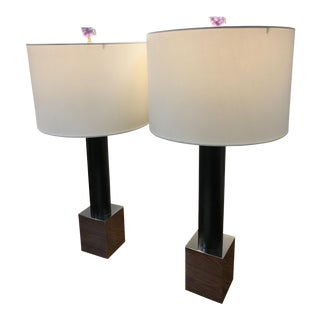 Vintage Black, Chrome and Amethyst Table Lamps - A Pair