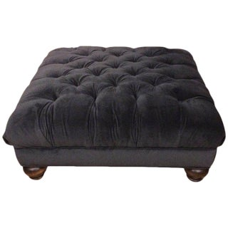 Luxurious Charcoal Grey Velvet Tufted Ottoman
