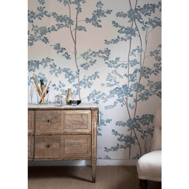 "Lewis & Wood Beech Bluegrass Extra Wide 52"" Botanic Style Wallpaper - 1 Yard For Sale - Image 4 of 4"