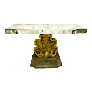 Hollywood Regency Mirrored & Gilt Shell Console Table For Sale