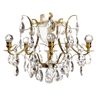 Bathroom Chandelier With Crystals and Brass Frame