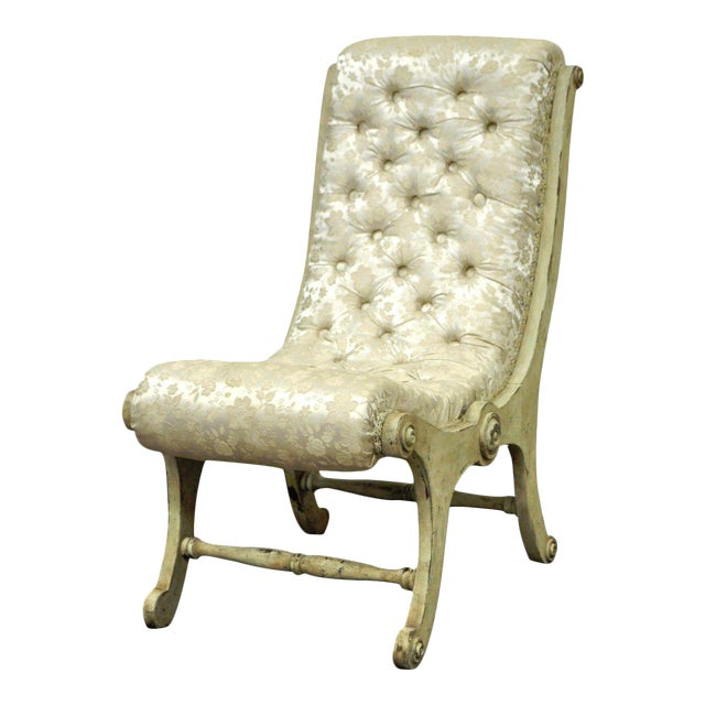 Antique Small Victorian Tufted Carved Wood Distress Painted Slipper Accent Chair - Image 1 of 11