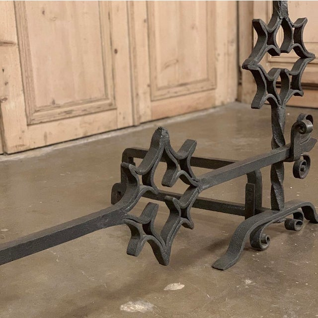 Gray 18th Century Grand Wrought Iron Andirons For Sale - Image 8 of 13