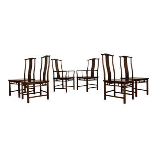 1970s Baker Furniture Far East Collection Dining Chairs by Michael Taylor - Set of 6 For Sale