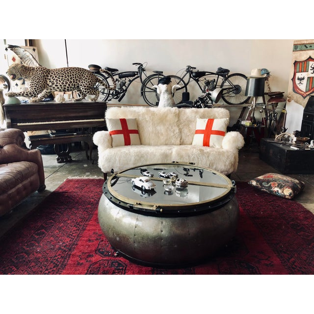 White Mongolian Wool Sofa For Sale - Image 4 of 13