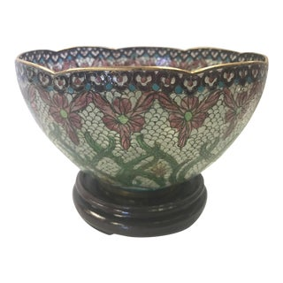 1960s Vintage Chinese Glass Mosaic Centerpiece Bowl For Sale