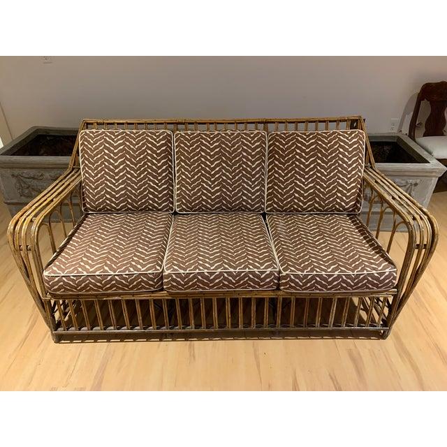 1930s Rattan 3 Cushion Sofa For Sale - Image 9 of 9