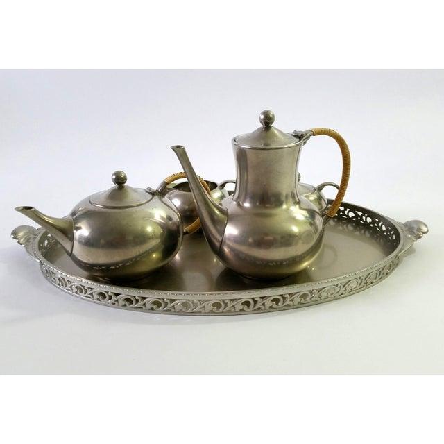 1960s Vintage Royal Holland Pewter Tea Serving Set For Sale - Image 5 of 11