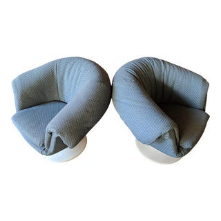 Mid Century Mod Tulip Base Swivel Lounge Chairs - a Pair