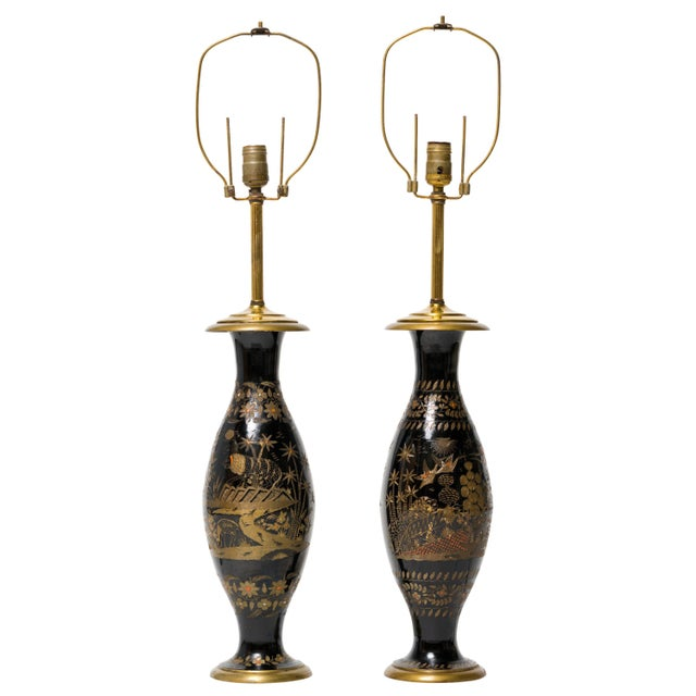Metal Pair of Brass Etched Asian Motif Table Lamps For Sale - Image 7 of 7