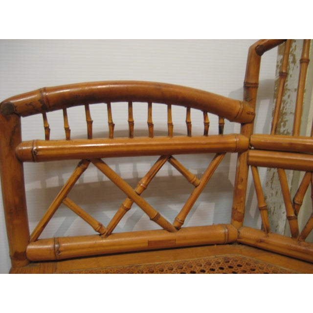 1970s Vintage Bamboo & Cane Chairs With Cushions - a Pair For Sale In New Orleans - Image 6 of 10