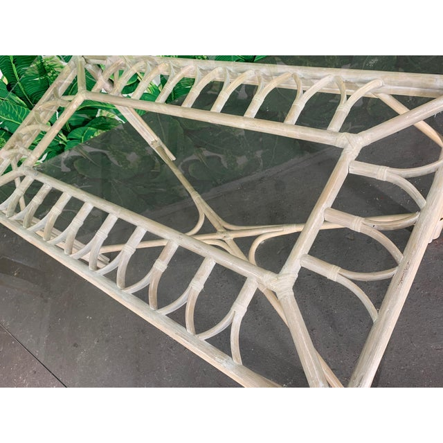 Rattan Glass Top Dining Table For Sale - Image 4 of 6