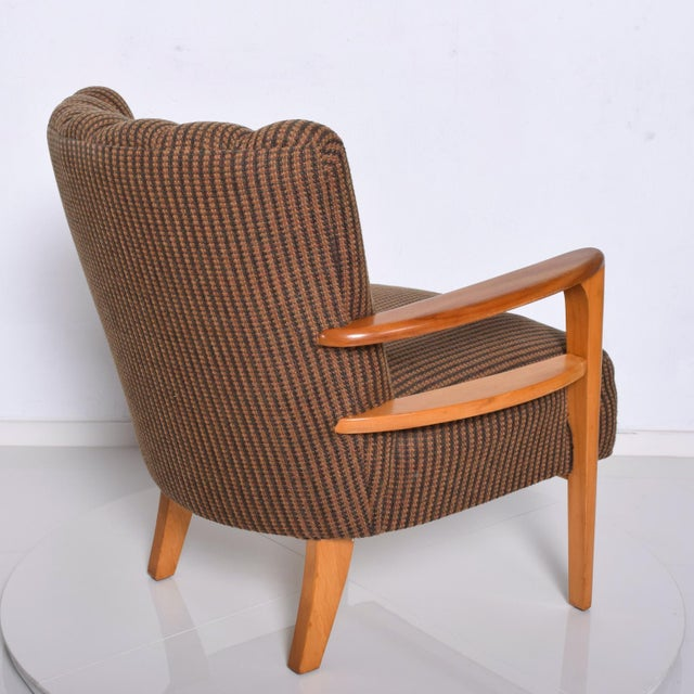 Brown 1950s Mid Century Modern Heywood Wakefield Maple Lounge Chair For Sale - Image 8 of 12